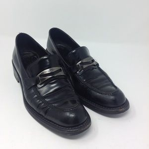 Max Mara Black Leather Penny Loafer 38.5